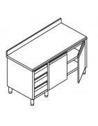 Meuble inox avec bloc 3 tiroirs, portes battantes